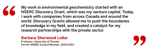 My work in environmental geochemistry started with an NSERC Discovery Grant, which was my venture capital. Today, I work with companies from across Canada and around the world. Discovery Grants allowed me to push the boundaries of knowledge in my field, and created a catalyst for my research partnerships with the private sector. Barbara Sherwood Lollar, Professor, University of Toronto. Former NSERC Council Member, 2003 - 2013