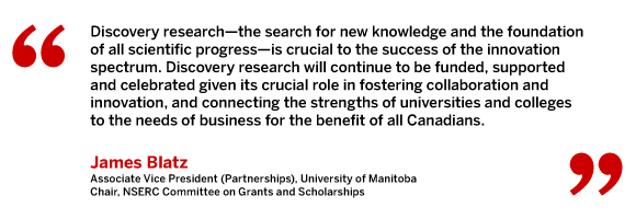 Discovery research – the search for new knowledge and the foundation of all scientific progress – is crucial to the success of the innovation spectrum. Discovery research will continue to be funded, supported and celebrated given its crucial role in fostering collaboration and innovation, and connecting the strengths of universities and colleges to the needs of business for the benefit of all Canadians. James Blatz, Associate Vice President (Partnerships), University of Manitoba, Chair, NSERC Committee on Grants and Scholarships.
