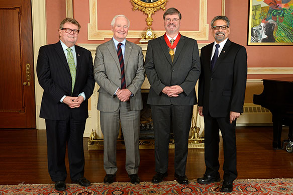 The Honorable Ed Holder, Minister of State (Science & Technology); His Excellency the Right Honorable David Johnston, Governor General of Canada; Axel Becke, Dalhousie University; B. Mario Pinto, President, NSERC