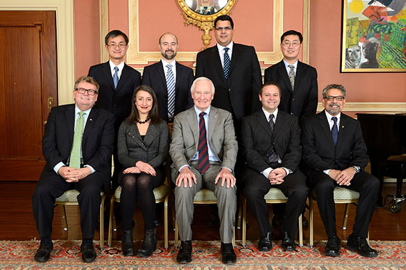 Wei Yu, University of Toronto; Aaron Wheeler, University of Toronto; Daniel Ansari, Western University; Jiangchuan Liu, Simon Fraser University; The Honorable Ed Holder, Minister of State (Science & Technology); Leah Cowen, University of Toronto; His Excellency the Right Honorable David Johnston, Governor General of Canada; Steven Cooke, Carleton University; B. Mario Pinto, President, NSERC