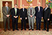 Manfred Gerber, Venmar CES Inc.; The Honorable Ed Holder, Minister of State (Science & Technology); Carey Simonson, University of Saskatchewan; His Excellency the Right Honorable David Johnston, Governor General of Canada; Robert W. Besant, University of Saskatchewan; B. Mario Pinto, President, NSERC