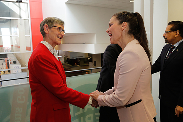 The Honourable Kirsty Duncan, Minister of Science and Sport with Edna Dach, Retired Director of Technology Services and NSERC Awards for Science Promotion Individual Recipient