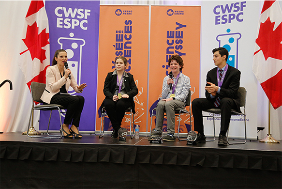 The Honourable Kirsty Duncan, Minister of Science and Sport during Panel Discussion with top three Canada-Wide Science Fair winners Mac Dykeman, Best Junior Project, Brendon Matusch, Best Intermediate Project and Best Project, and Nicolas Fedrigo, Best Senior Project