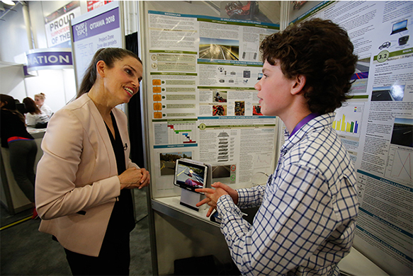 The Honourable Kirsty Duncan, Minister of Science and Sport with Brendon Matusch, Best Intermediate Project and Best Project winner, Canada-Wide Science Fair